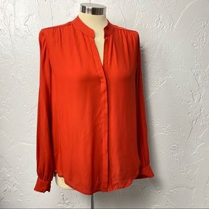 L'agence Silk Pleated Red Orange Top L